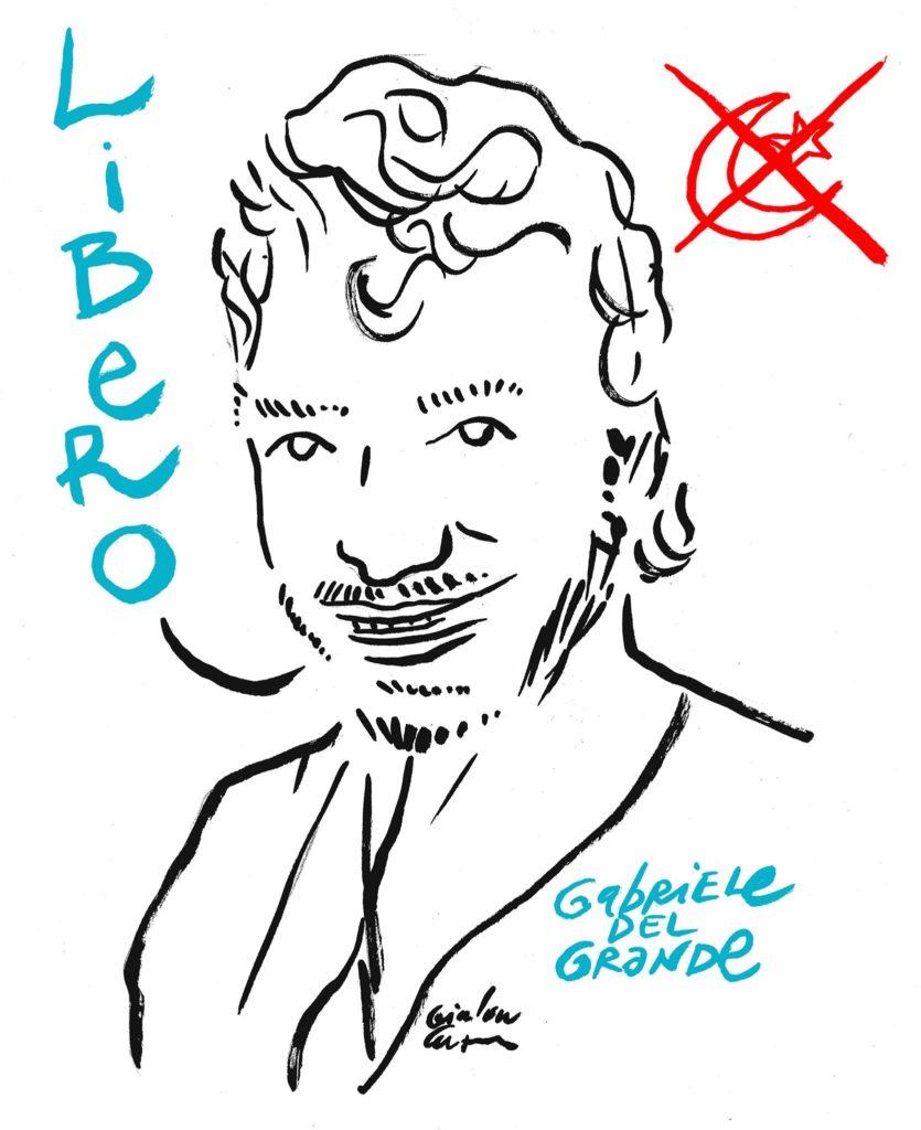 La vignetta di Gianluca Costantini sulla liberazione di Gabriele Del Grande